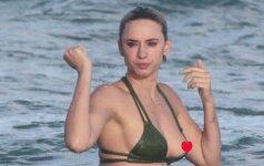 """Gėdinga akimirka: """"Snapchat"""" karalienė pamiršo laiku žvilgtelėti į bikinio viršų"""