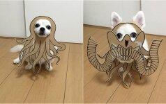 Japonė kuria juokingas kartono iškarpas savo šuniui