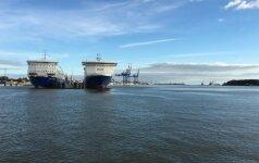 Klaipėdos uosto gilintuvas kliudė Karinių jūrų pajėgų laivą