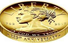 Pirmą kartą istorijoje JAV proginę monetą papuošė juodaodė Laisvės deivė