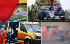 Drama F-1 kvalifikacijoje – liūtis, avarijos, raudonos vėliavos ir greitoji pagalba