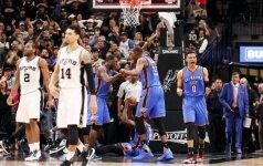 """Drama NBA: po kontroversiško teisėjų sprendimo """"Spurs"""" nusileido """"Thunder"""""""