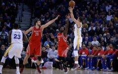 """D. Motiejūnas ir """"Rockets"""" klubas neatsilaikė prieš NBA lygos lyderę GSW ekipą"""
