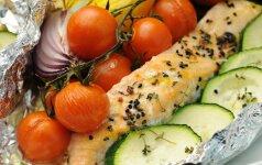 Lašiša su daržovėmis