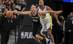 """Gulbės giesmė: ketvirtame kėlinyje dominavęs Ginobili leido """"Spurs"""" palaužti """"Warriors"""""""