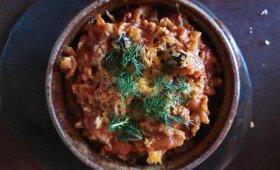 Baklažanų ir pomidorų troškinys