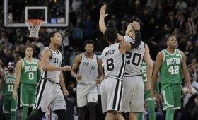 """NBA naktis: pergalingas Ginobili šūvis ir nukraujavusių """"Warriors"""" vargai"""