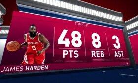 "Pribloškiantis Hardeno indėlis į ""Rockets"" pergalę Portlande"