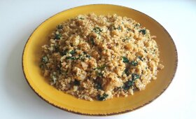 Kalafiorų ryžiai su špinatais