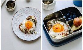 Skrebutis su pesto kiaušiniais