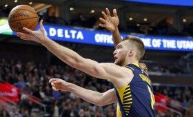 """Rezultatyviai žaidęs Sabonis svariai prisidėjo prie """"Pacers"""" pergalės Jutoje"""