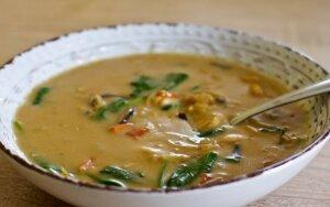 Tiršta kokosų sriuba su daržovėmis ir mėsa