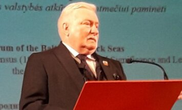 Poland's former president Lech Walesa at the Baltic and Black Sea Forum in Kaunas