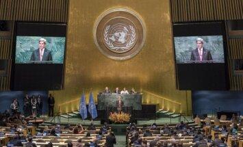 Niujorke 31 šalis kartu ratifikavo JT klimato kaitos susitarimą