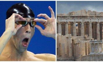 Michaelas Phelpsas, Akropolis (AFP-Scanpix, REUTERS-Scanpix nuotr.)