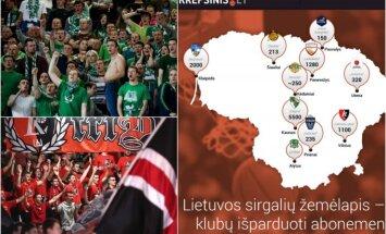 Lietuvos krepšinio klubų žemėlapis pagal parduotus abonementus