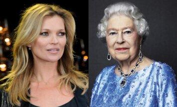 Karalienė Elžbieta II ir supermodelis Kate Moss