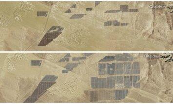 Saulės kolektoriai Tibete 2013 ir 2017 m.