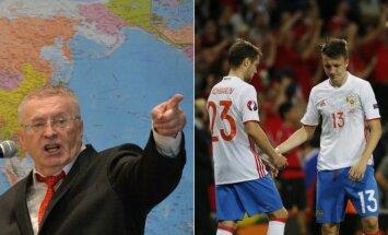 Vladimiras Žirinovskis regi išeičių Rusijos futbolo rinktinei (Sputnik ir Reuters nuotr.)