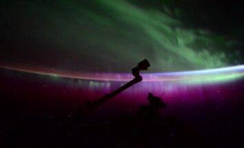 Šiaurės pašvaistės vaizdas iš TKS (S. Kelly/NASA nuotr.)