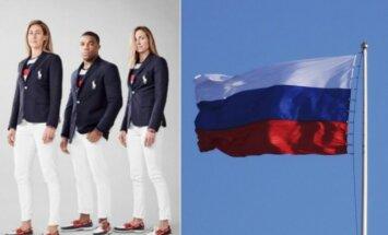Paradinė JAV olimpiečių apranga ir Rusijos vėliava