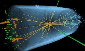 LHC greitintuve atlikto eksperimento iliustracija: matomi du išsiskiriantys fotonai