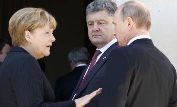 Angela Merkel, Petro Porošenka ir Vladimiras Putinas