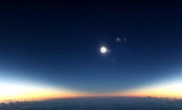 Saulės užtemimas stebėtas pro lėktuvo langą