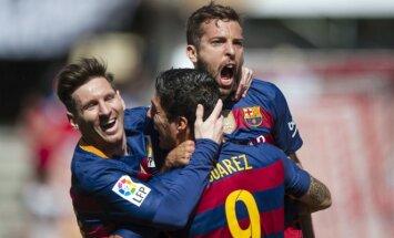 """Trys Luiso Suarezo įvarčiai padovanojo """"Barcai"""" Ispanijos čempionės titulą"""