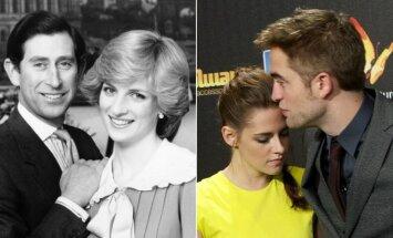 Princesė Diana ir princas Charlzas; aktoriai Robertas Pattinsonas ir Kristen Stewart.