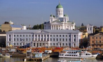 View to Market Square on Waterfront and Lutherian Cathedral, Helsinki, Finland