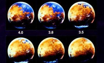 Vandens istorija Marse. Iliustacijų ir montažo autoriai – NASA Ames tyrimų centras