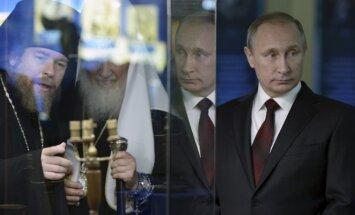 Bishop Tihon, patriarch Kiril and President Vladimir Putin