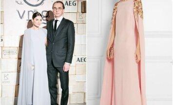 """V. Jakučinskaitės kurta suknelė (kairėje), """"Oscar De La Renta"""" mados namų suknelė"""
