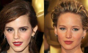 Emma Watson ir Jennifer Lawrence