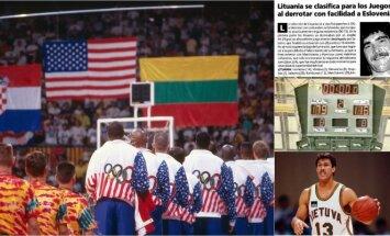 Lietuvos rinktinės žygis 1992-aisiais (Getty Images, stopkadrai)