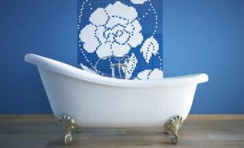 Mėlynos spalvos panaudojimas vonios kambaryje