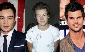 Ed Westwick, Harry Styles, Taylor Lautner. MAVRIXONELINE.COM, AFP/Scanpix ir AP/Scanpix nuotraukos