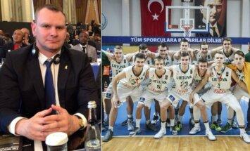 Mindaugas Špokas ir 18-mečių rinktinė (LKF ir FIBA nuotr.)
