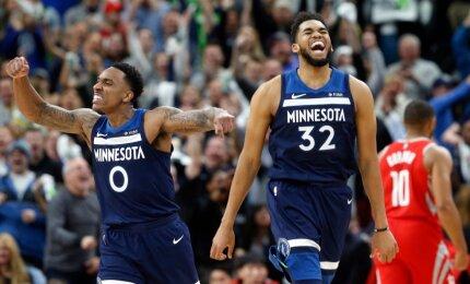 """Sensacijos tęsiasi: lygos lyderiai """"Rockets"""" patyrė triuškinantį pralaimėjimą Minesotoje"""