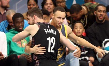 """NBA tritaškių konkurse Curry nosį nušluostė """"Nets"""" snaiperis"""