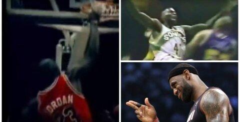 Didingiausių NBA istorijoje dėjimų viršūnėje – M. Jordano šou ir pribloškiantį skrydį stebintis Šaras