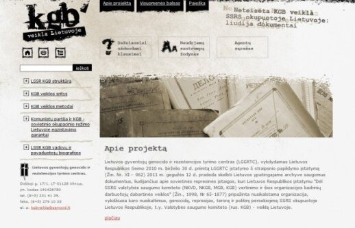 kgbveikla.lt, a website dedicated to information from the KGB files in Lithuania