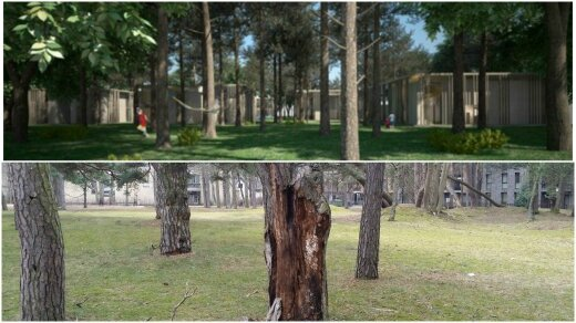 Planuojamų statybų vizualas (viršuje) ir esame situacija (apačioje)