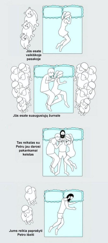Ką jūsų miego poza išduoda apie jūsų santykius