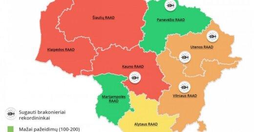Brakonierių žemėlapis (RAAD statistika pagal pažeidimus)