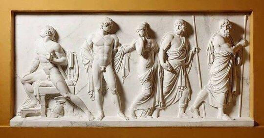 Achilas ir Briseidė,  B. Thorvaldseno bareljefas iš buvusios Pakruojo dvaro bibliotekos  (Nacionalinis M. K. Čiurlionio dailės muziejus)