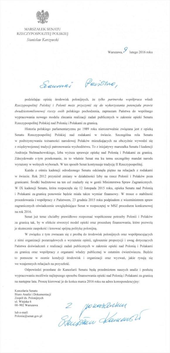 List marszałka Senatu RP Stanisława Karczewskiego