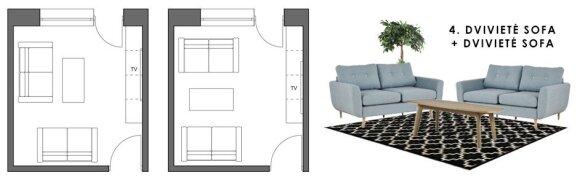 5 minkštų baldų kombinacijos mažoje svetainėje