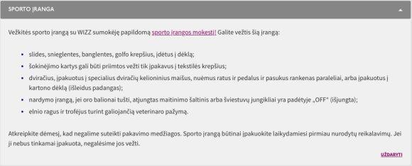 """Sporto įrangos vežimo taisyklės """"WizzAir"""" puslapyje"""